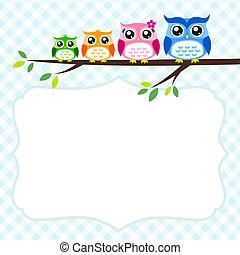 primavera, coruja, família, cartão, convite