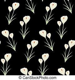 primavera, crocuses., seamless, flowers., modello, fondo