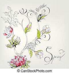 primavera, decorativo, cartão