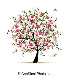 primavera, desenho, árvore, seu, rosas