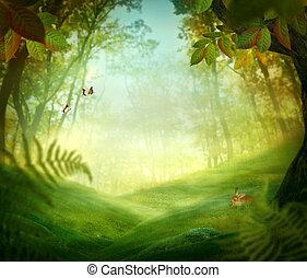 primavera, desenho, -, floresta, prado