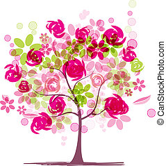primavera, diseño, árbol, su, rosas