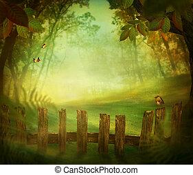 primavera, diseño, -, bosque, con, cerca de madera