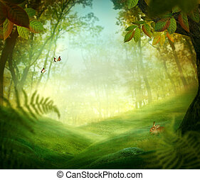 primavera, diseño, -, bosque, pradera