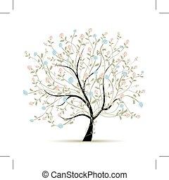 primavera, diseño, flores, árbol, su