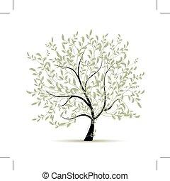 primavera, disegno, albero, verde, tuo