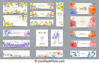 primavera, disegno, invito, cartelle, aggraziato, fiori, tuo