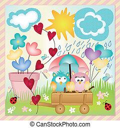 primavera, disposizione, pioggia, gufi