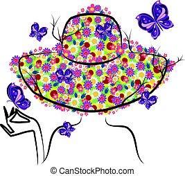 primavera, donna, cappello
