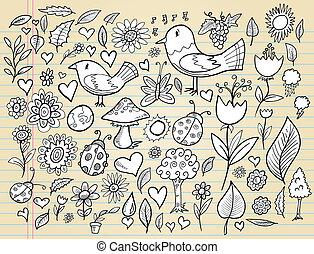 primavera, doodle, caderno, jogo, tempo