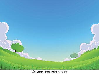 primavera, e, estate, paesaggio, -, grandangolo