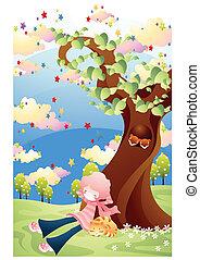 primavera, e, planta, árvore
