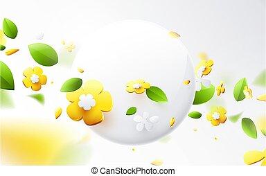 primavera, effetto, geometrico, primavera, 3d, colorito, rotondo, astratto, compositions, stagione, bandiera, fondo., fiore