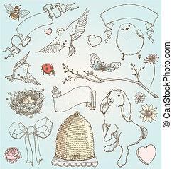 primavera, elementos, vindima, mão, desenhado