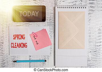 primavera, empresa / negocio, práctica, pegajoso, fondo., foto, escritura, cleaning., casa, marcador, madera, conceptual, actuación, mano, limpieza, smartphone, thoroughly, primavera, espiral, showcasing, cuaderno
