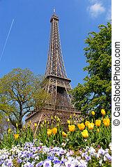 primavera, en, parís, torre eiffel