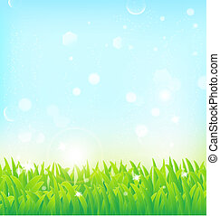 primavera, erba, effetti, fondo, luce