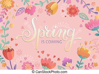primavera, es, venida, tarjeta, con, lettering.