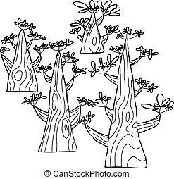 primavera, esboçado, árvores