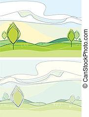primavera, estate, o, paesaggio, natura