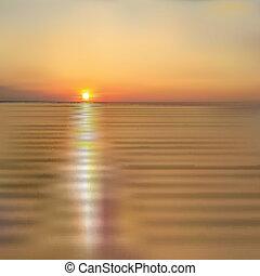 primavera, Estratto, tramonto, mare, fondo