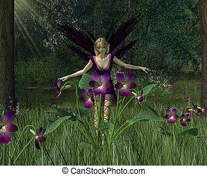 primavera, fada, bosque, violeta