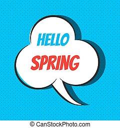 primavera, fala, frase, cômico, bolha, olá