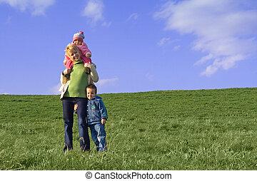 primavera, família, campo