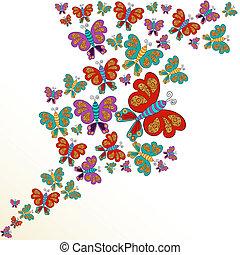 primavera, farfalla, schizzo