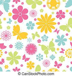 primavera, farfalle, fiori, seamless, modello