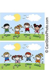 primavera, felice, bambini, estate