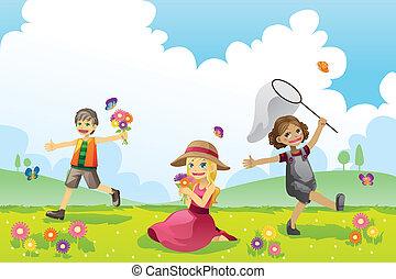 primavera, feliz, crianças, estação