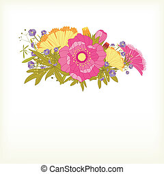 primavera, fiore, colorito, scheda, augurio
