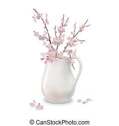 primavera, fiori, brocca, ramo