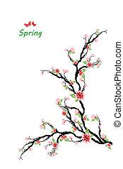 primavera, fiori, ciliegia