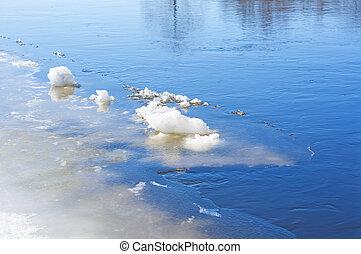 primavera, fiume, ghiaccio