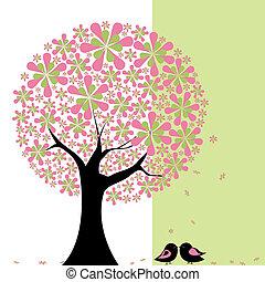 primavera, flor, árbol, con, lovebird
