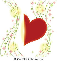 primavera, flor, con, corazón rojo, tarjeta de felicitación