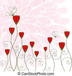 primavera, flor, con, mariposa