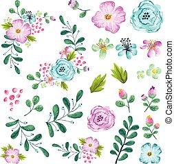 primavera, flor, Conjunto,  preassembled