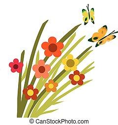 primavera, flor, flor, y, mariposas, -2