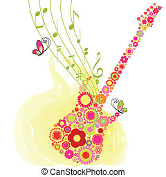 primavera, flor, guitarra, música, fiesta, plano de fondo