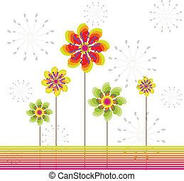 primavera, flor, tarjeta de felicitación