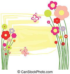 primavera, flora, cartolina, con, farfalla