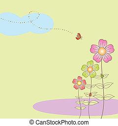 primavera, flora, postal, con, mariquita