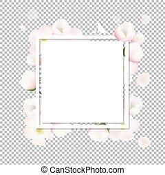 primavera, flores, árvore, maçã, cartão