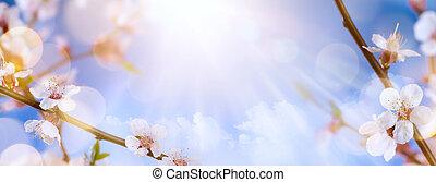 primavera, flores, arte