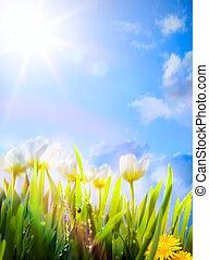 primavera, flores, arte, fundo