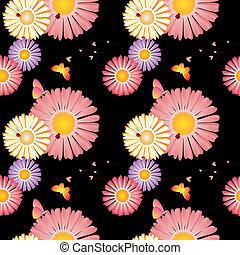 primavera, flores, mariposas, mariquitas, seamless, patrón