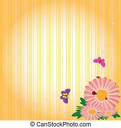 primavera, flores, y, mariposas, en, raya amarilla, plano de fondo